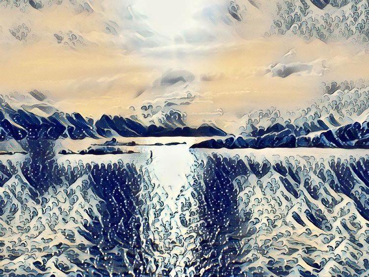 Fjord, Eis, Norwegen, Berge, Meer, Outsider art