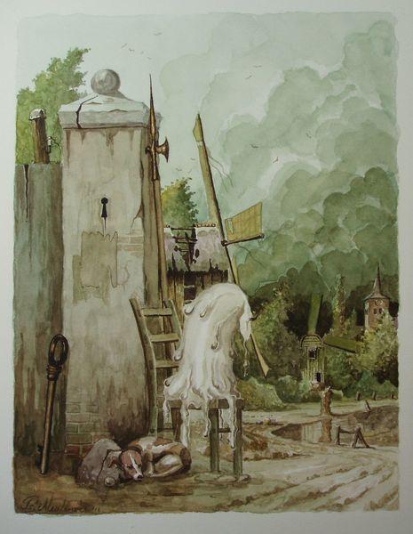 Windmühle, Fantasie, Landschaft, Stuhl, Hund, Slussel