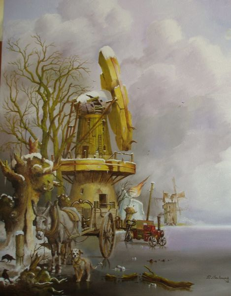 Romantiek, Dampfmachine, Windmühle, Winterlandschaft, Hund, Ezel