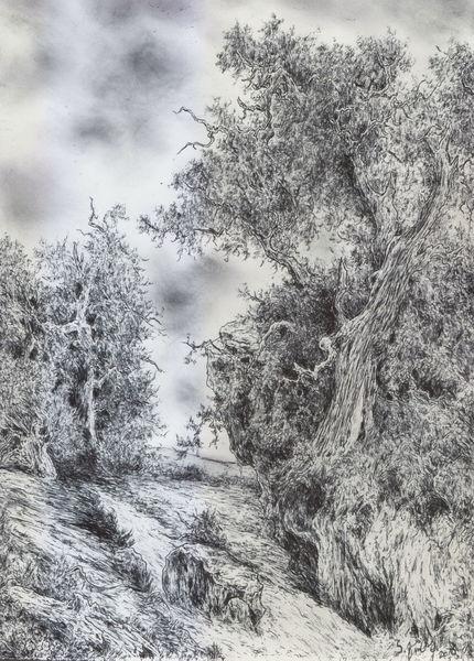 Landschaft, Wasser, Kugelschreiber, Wald, Alte meister, Romantik