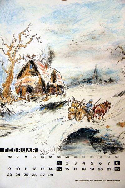 Pferde, Baum, Kalender, Schnee, Winter, Haus