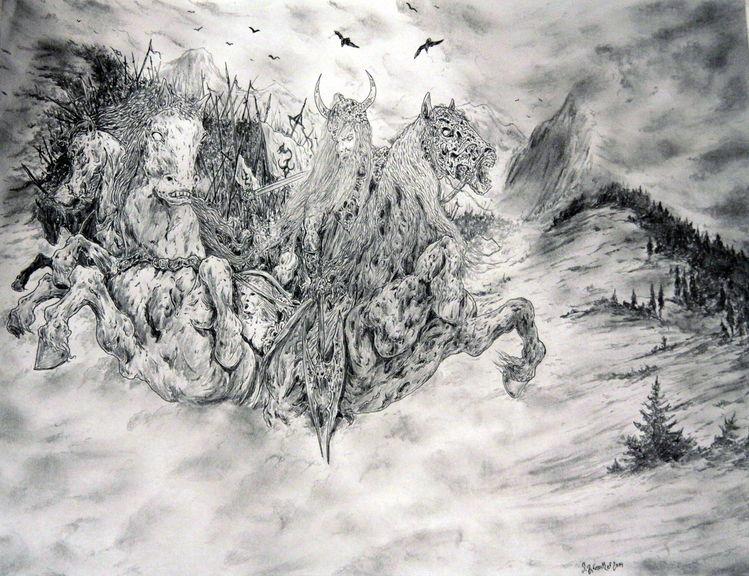 Wiking, Pferde, Wolken, Apokalypse, Viking, Nordisch