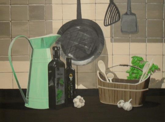 Kachel, Küche, Vase, Kochen, Knoblauch, Holzlöffel