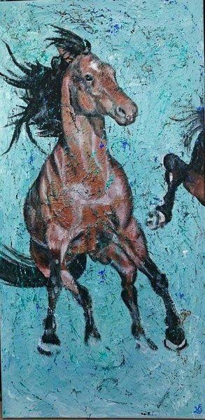 Pferde, Türkis, Malerei