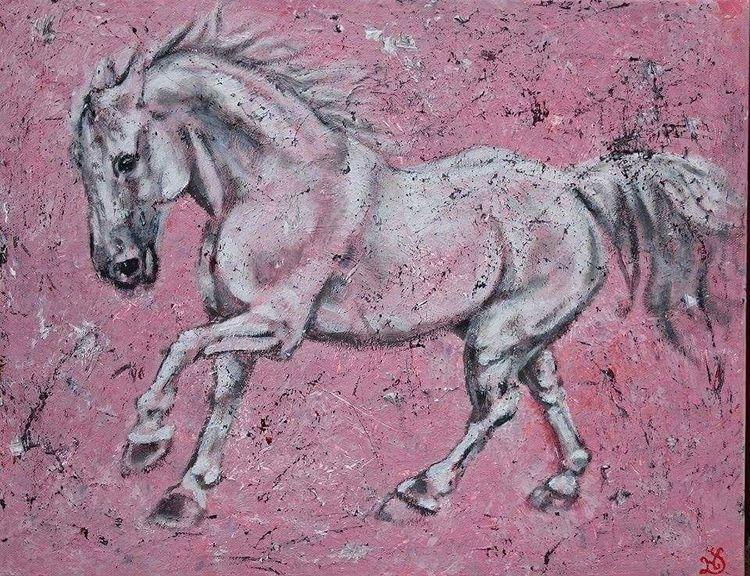 Pferde, Schimmel, Rosa, Malerei, Traum