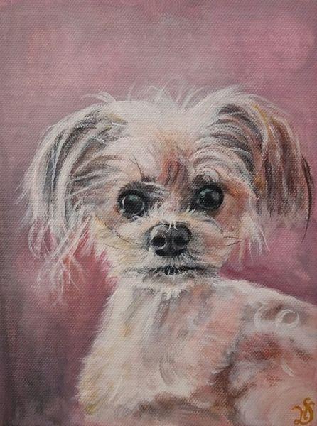 Hund, Hündin, Portrait, Rosa, Malerei