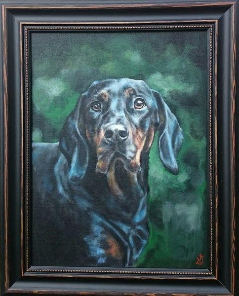 Jagdhund, Portrait, Wald, Hund, Jäger, Malerei