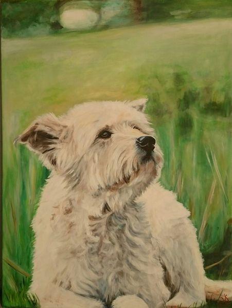 Wiese, Portrait, Terrier, Hund, Malerei
