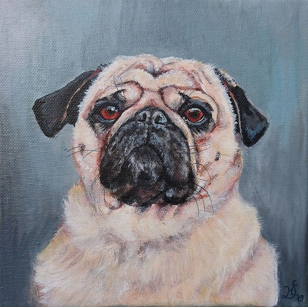 Portrait, Hund, Mops, Malerei