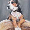 Hund, Appenzeller, Strohballen, Malerei