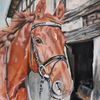 Pferde, Fuchs, Fachwerk, Malerei