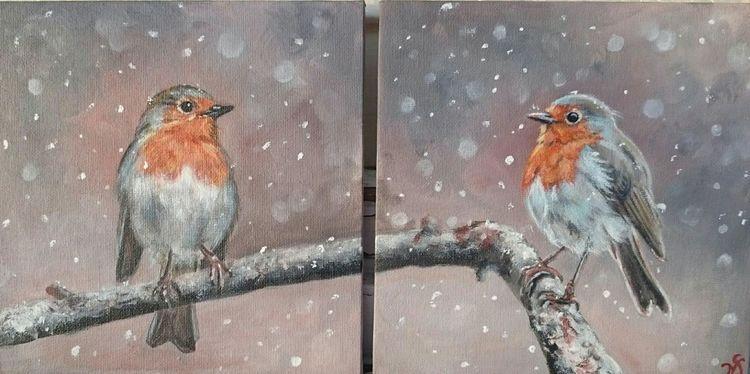 Vogel, Schnee, Rotkehlchen, Malerei