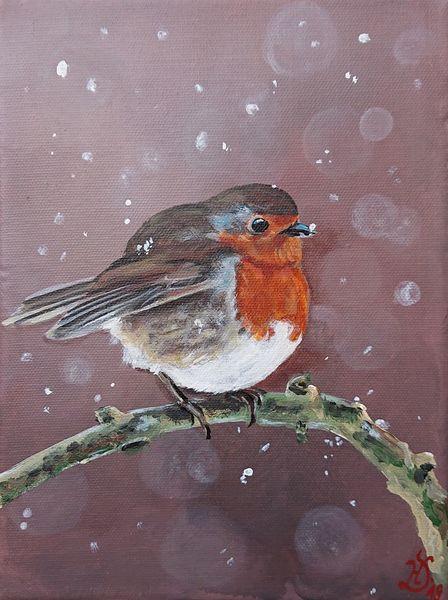 Schnee, Rotkehlchen, Vogel, Äste, Malerei