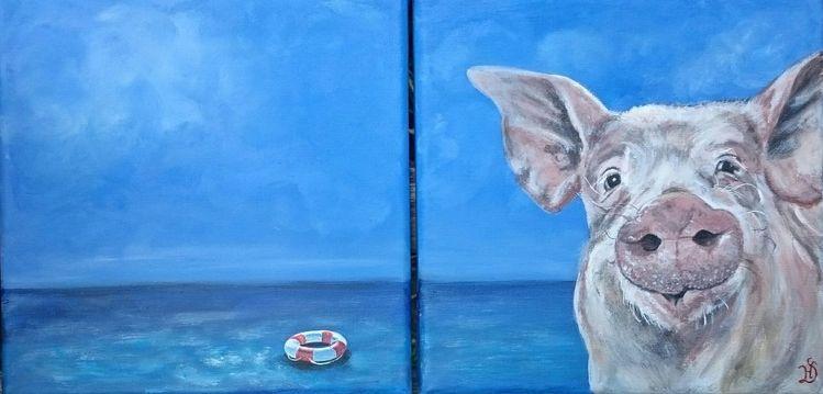 Rettungsring, Meerblick, Schwein, Meer, Malerei, Urlaub