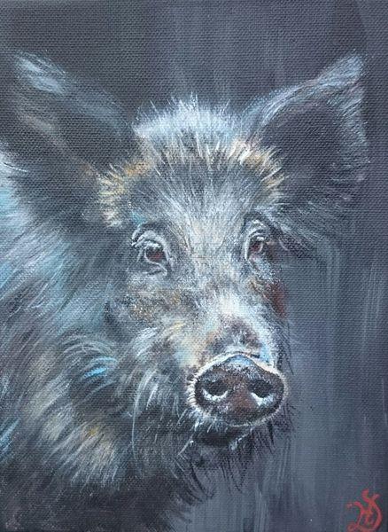 Wildschwein, Schwein, Waldtier, Malerei