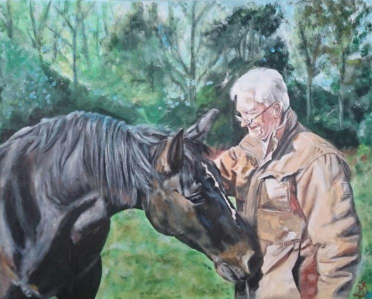 Pferde, Mann, Baum, Malerei, Erinnerung