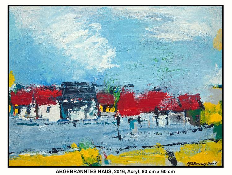 Stadt, Gelb, Weiß, Wolken, Hamburg, Acrylmalerei