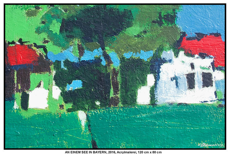 Gemälde, Sommer, Acrylmalerei, Moderne kunst, Deutschland, Baum
