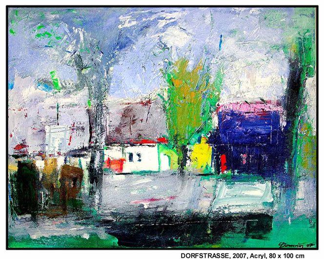 Grün, Horizont, Raum, Stadt, Wolken, Acrylmalerei