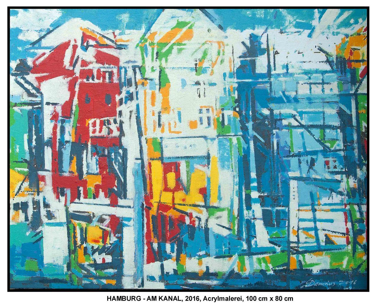 hamburg am kanal himmel wasser rot schwarz acrylmalerei von christian damerius bei kunstnet. Black Bedroom Furniture Sets. Home Design Ideas