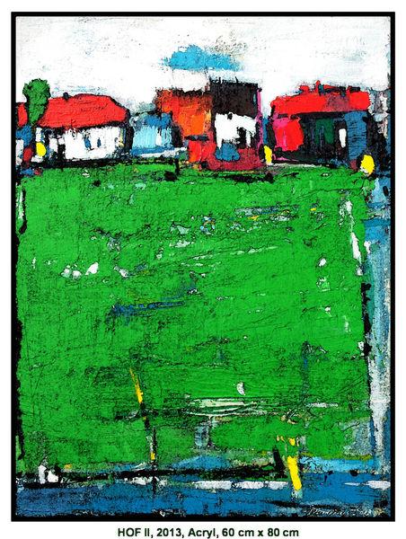 Landschaft, Horizont, Acrylmalerei, Sommer, Licht, Baum