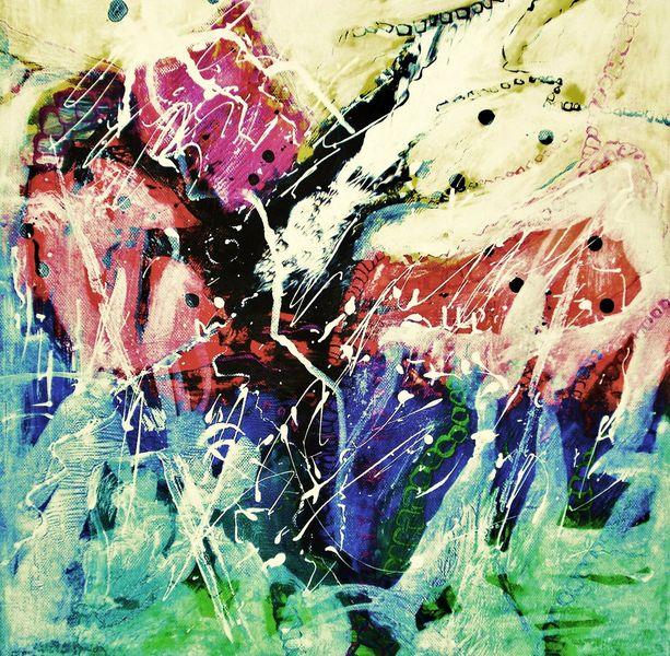 Dekoration, Gelb, Malerei, Expressionismus, Grün, Acrylmalerei