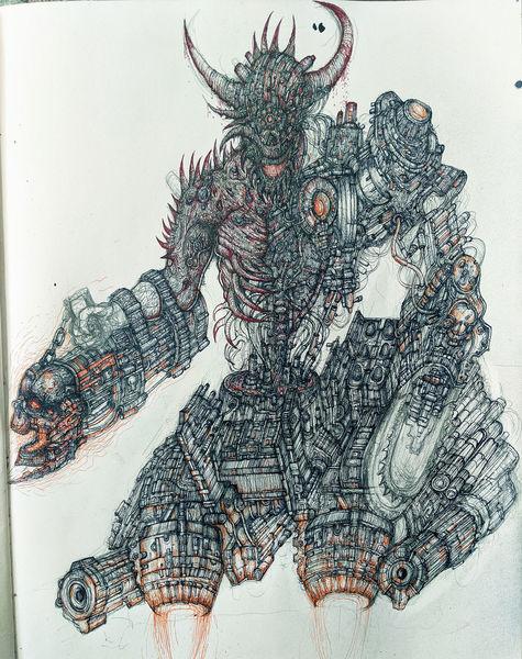 Hölle, Höllische maschine, Dämon, Concept art, Feder und tusche, Bio mechanisch