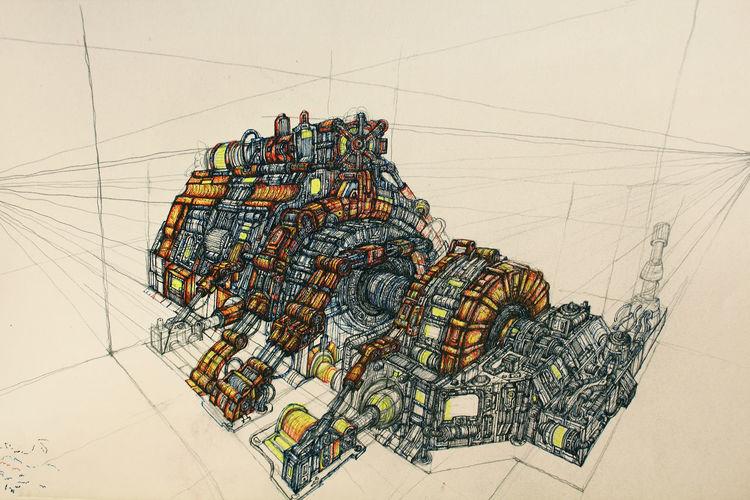 Generator, Maschine, Wissenschaft, Tuschmalerei, Zeichnungen