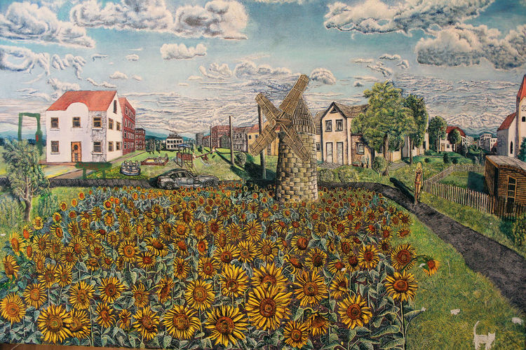 Windmühle, Bayern münchen, Sonnenblumen, Bmw, Sommer, Wolken