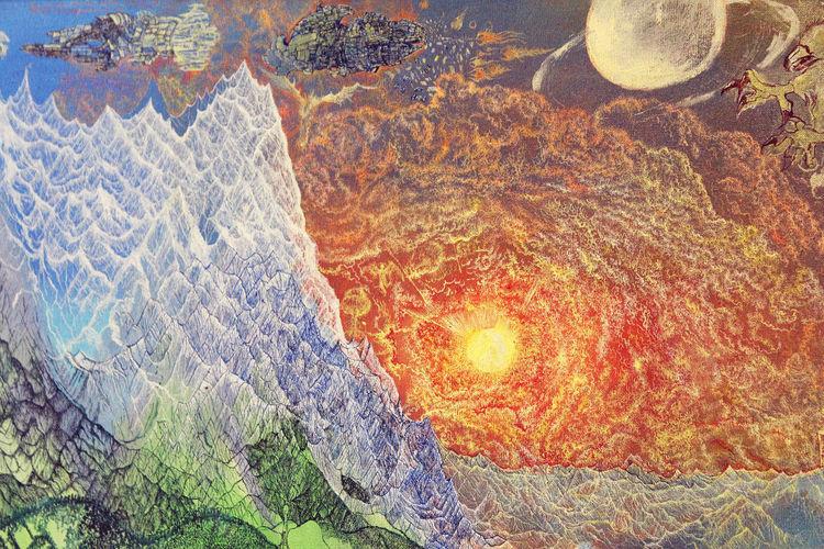 Sonne, Berge, Alpen, Malerei