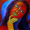 Frau, Blau schwarz, Rot, Portrait