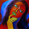 kein Titel - Portrait, Frau, rot, blau schwarz