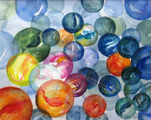 Malen, Meer, Murmel, Zeichnung, Aquarellmalerei, Aquarell