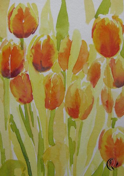Blumen, Tuschechnik, Meer, Nordfriesland, Aquarellmalerei, Sylt