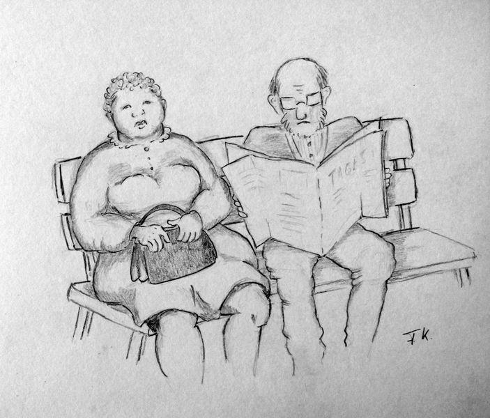 Mann, Frau, Bank, Paar, Warten, Zeichnungen