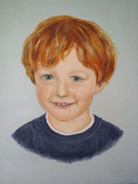 Junge, Ölmalerei, Portrait, Kind, Malerei