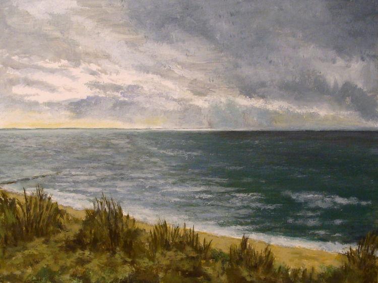 Himmel, Meer, Acrylmalerei, Strand, Dünen, Küste