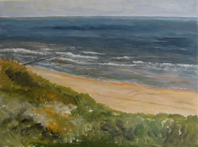 Skizze, Landschaft, Strand, Meer, Acrylmalerei, Dünen