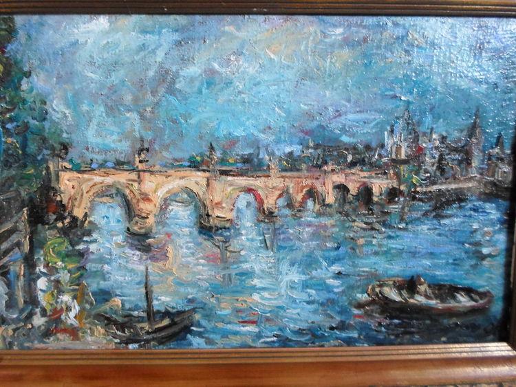 Brücke, Fluss, Prag, Malerei