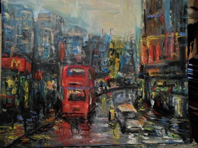 Stadt, Bus, Regen, London, Malerei