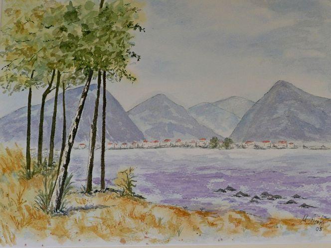 Aquarellmalerei, Aquarell, Blick, See