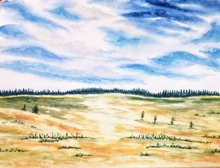 Herbst, Landschaft, Aquarellmalerei, Aquarell, Herbstlandschaft