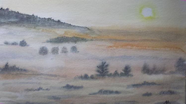 Landschaft, Aquarell, Nebel, Morgen
