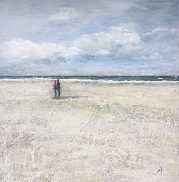 Strand, Welle, Wolken, Paar, Meer, Menschen