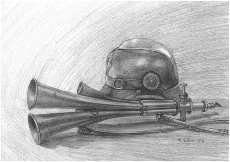 Helm, Horn, Preußisch, Signalhorn, Antik, Bleistiftzeichnung