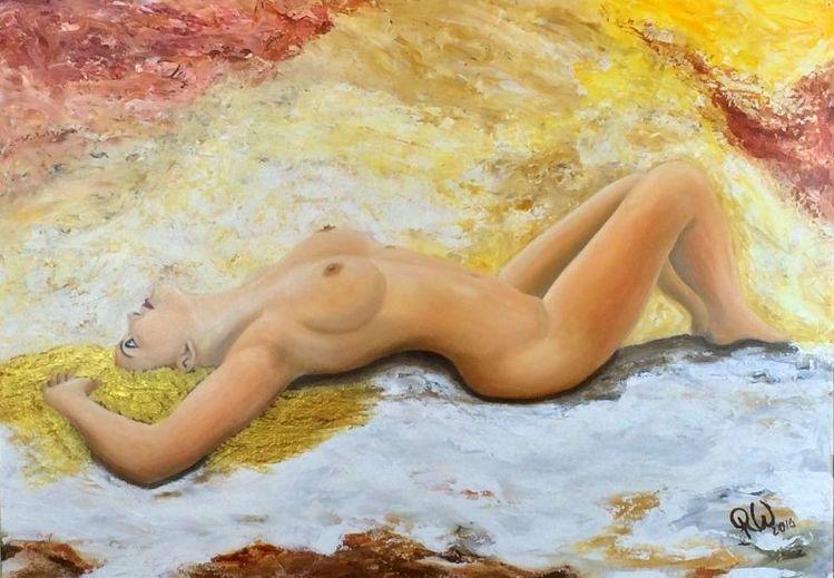 Goldenes haar, Akt, Sinnlichkeit, Ausdruck, Malerei, Passion
