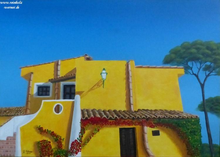 Mallorca, Spanisch, Gelb, Malerei, Villa