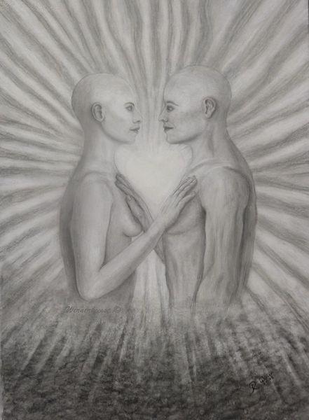 Seele, Realismus, Seelenverwandtschaft, Fantasie, Bleistiftzeichnung, Akt