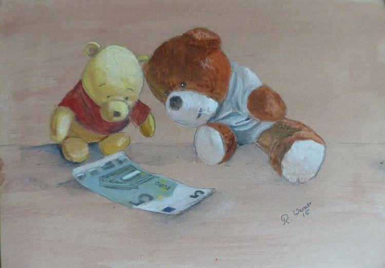 Bär, Teddybär, Geld, Malerei