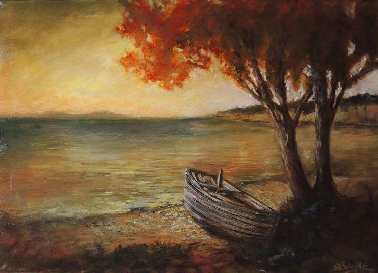 Sonnenaufgang, Ölmalerei, Boot, Meerblick, Sonnenuntergang, Abend